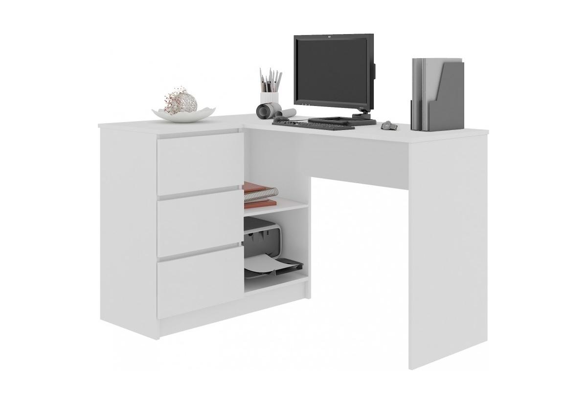 Expedo.sk Psací stůl KORDA B16 3SZ, 124,5x77x50, bílá, levá, doprava len 9 Euro