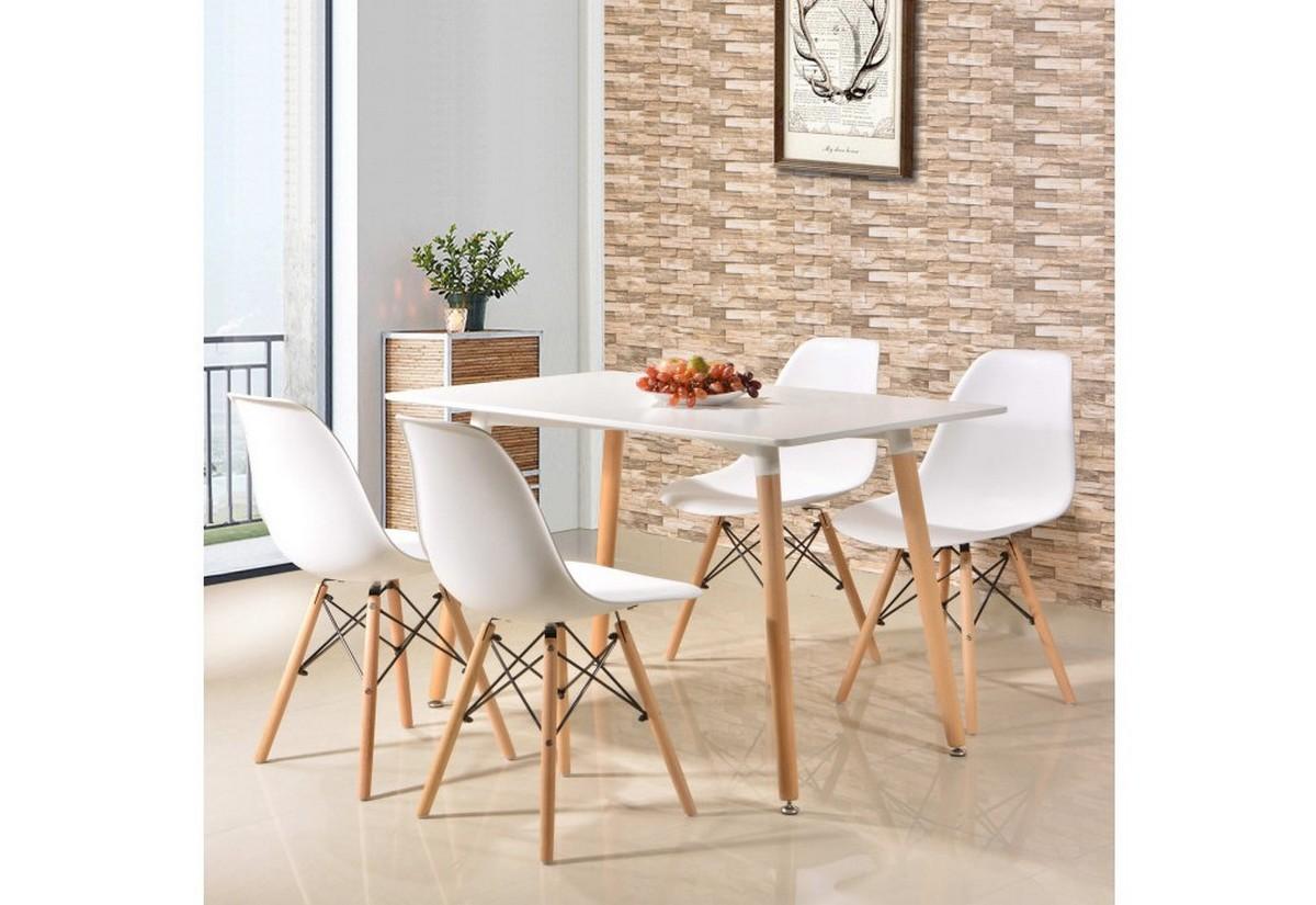 Expedo.sk Jedálenská zostava GULDEN II, stôl + 4 stoličky, biela, doprava len 9 Euro