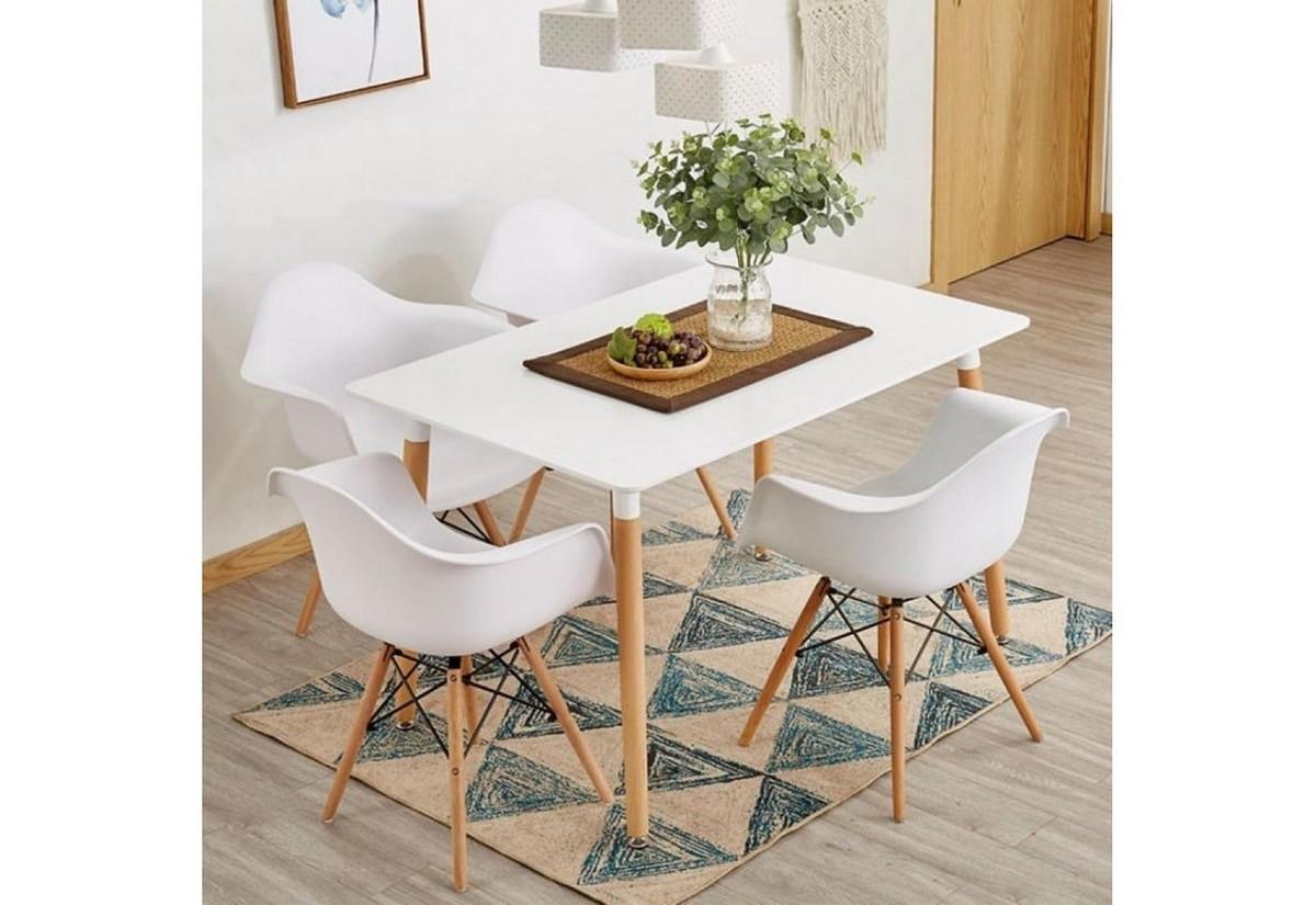 Expedo.sk Jedálenská zostava SOLDE, stôl gulden + 4x stolička, biela, doprava len 9 Euro