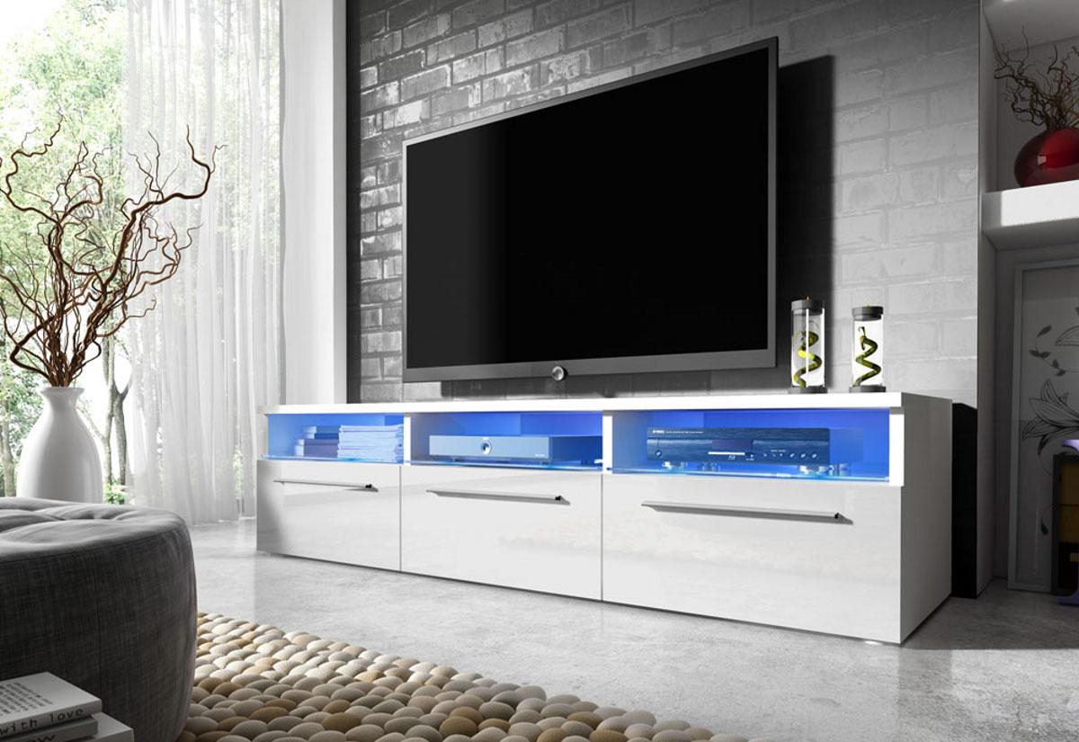 Expedo.sk TV stolík LORA RTV 2, biela/biely lesk
