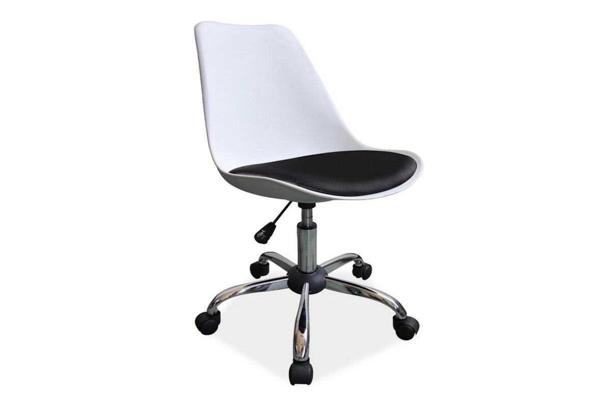 Kancelárska stolička SEVEN, 79-89x47x42x42-52, biala/čierna