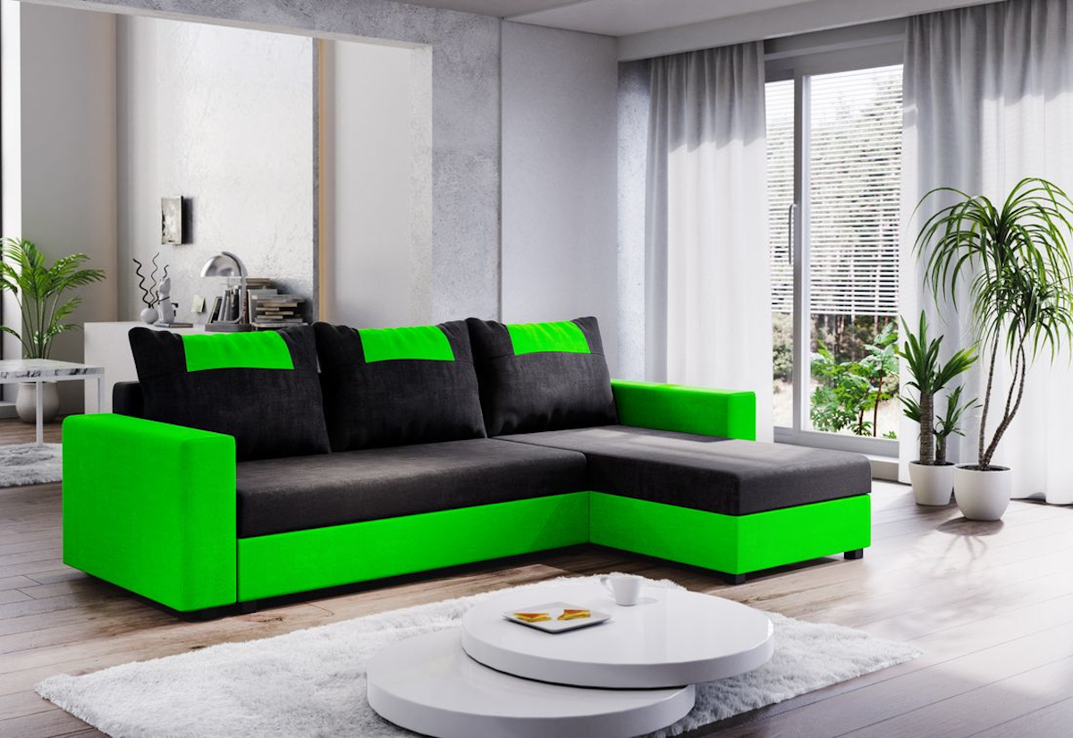 Expedo.sk Rohová rozkládací sedačka COOPER, 232x144, černá/zelená, mikrofáze04/U062, doprava len 9 Euro