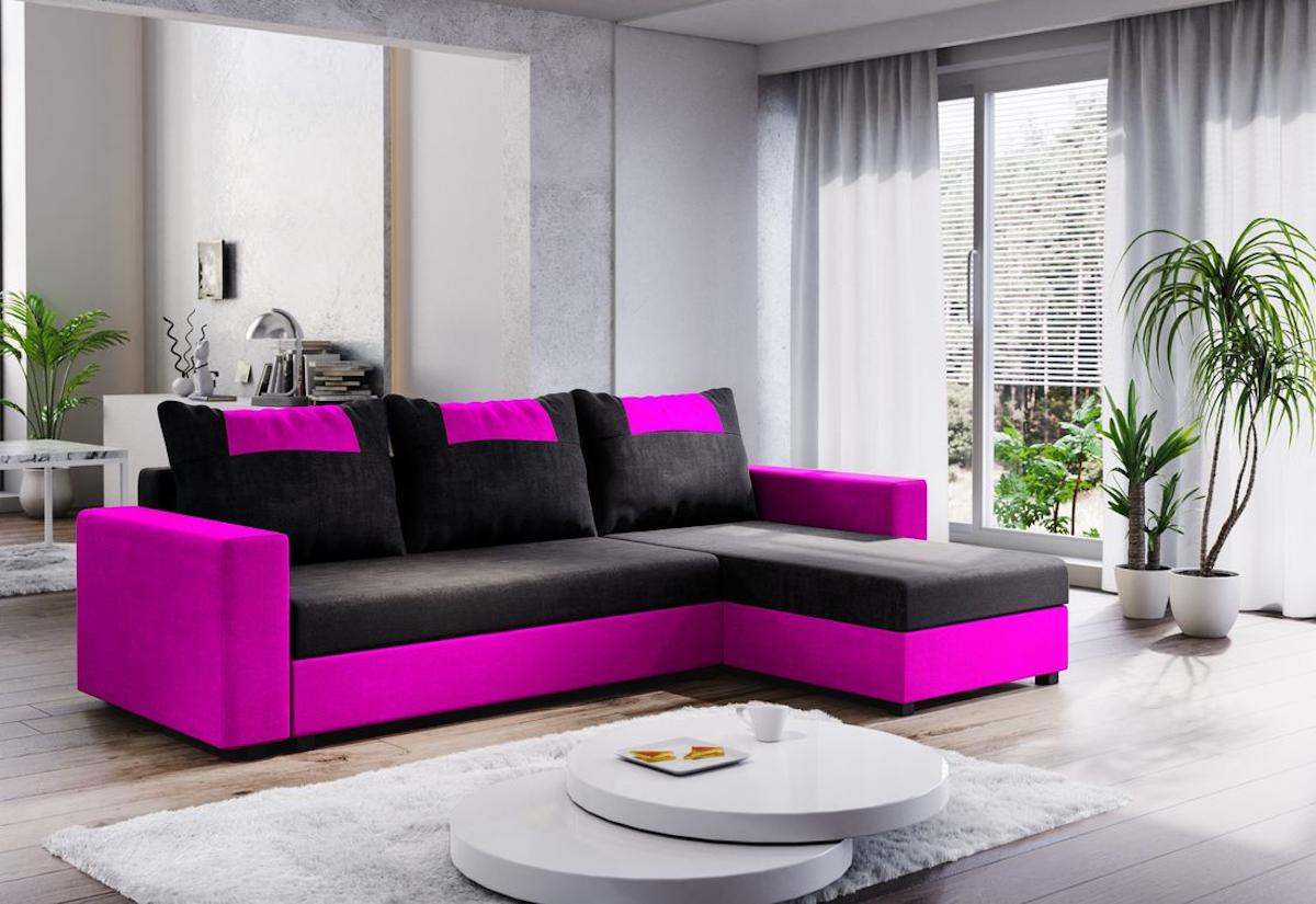 Expedo.sk Rohová rozkládací sedačka COOPER, 232x144, černá/růžová, mikrofáze04/U028, doprava len 9 Euro