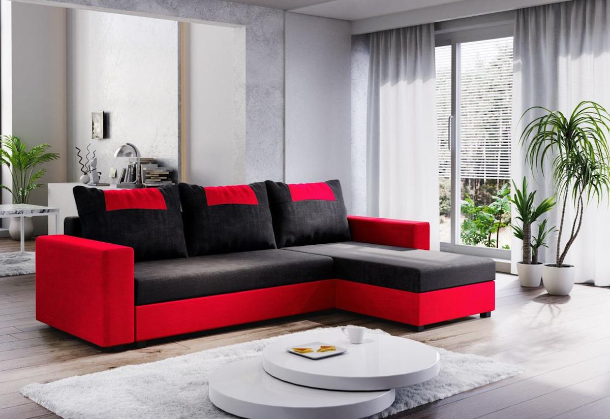 Expedo.sk Rohová rozkládací sedačka COOPER, 232x144, černá/červená, mikrofáze04/U022, doprava len 9 Euro