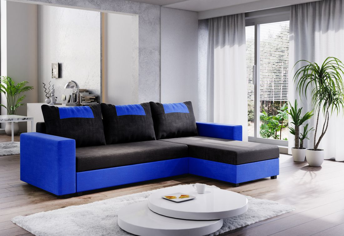 Expedo.sk Rohová rozkládací sedačka COOPER, 232x144, černá/modrá, mikrofáze04/U036, doprava len 9 Euro