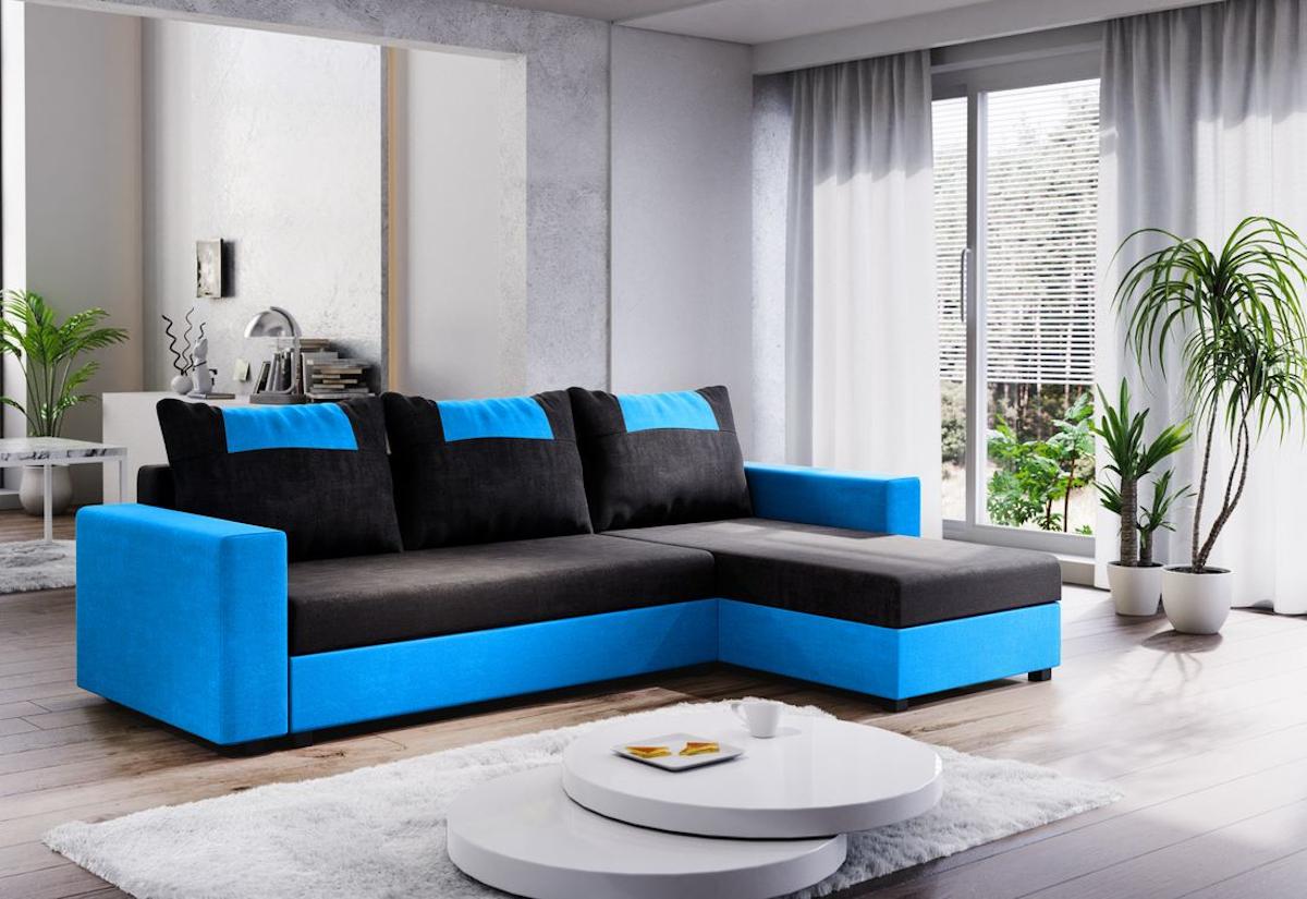 Expedo.sk Rohová rozkládací sedačka COOPER, 232x144, černá/světle modrá, mikrofáze04/U018, doprava len 9 Euro