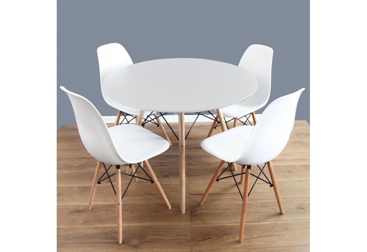 Expedo.sk Jídelní sestava GULDEN, kulatý stůl + 4x židle, bílá, doprava len 9 Euro