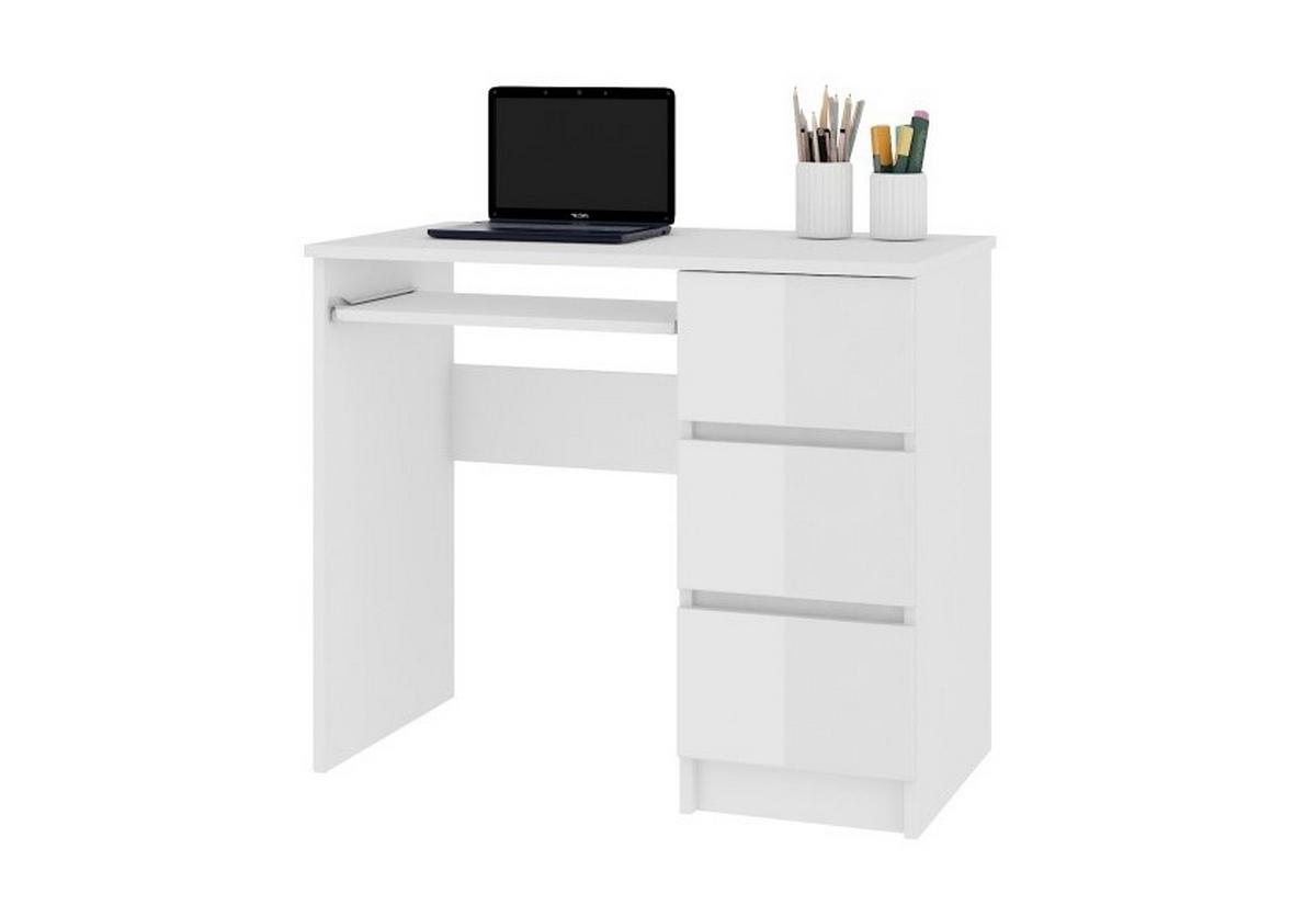 Expedo.sk Psací stůl KORDA A-6, 90x77x50, bílá/bílá lesk, pravá, doprava len 9 Euro
