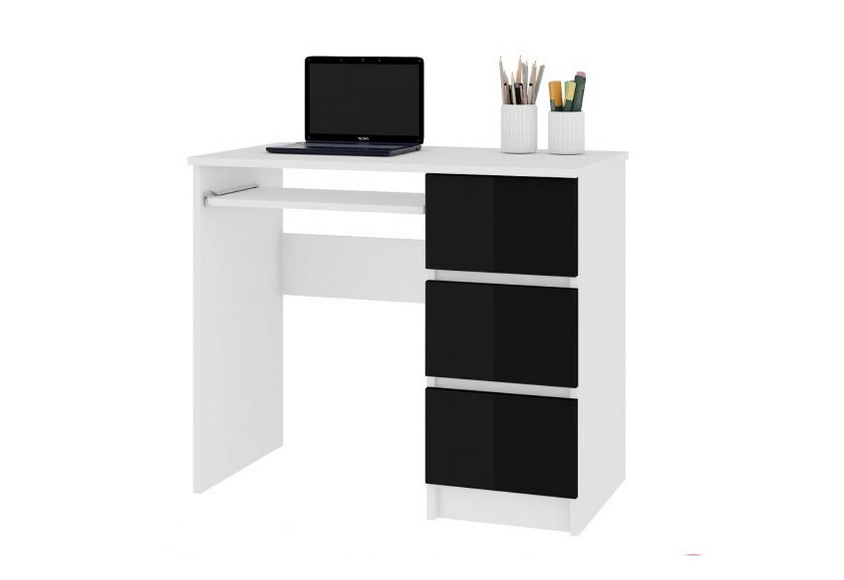 Expedo.sk Psací stůl KORDA A-6, 90x77x50, bílá/černá lesk, pravá, doprava len 9 Euro