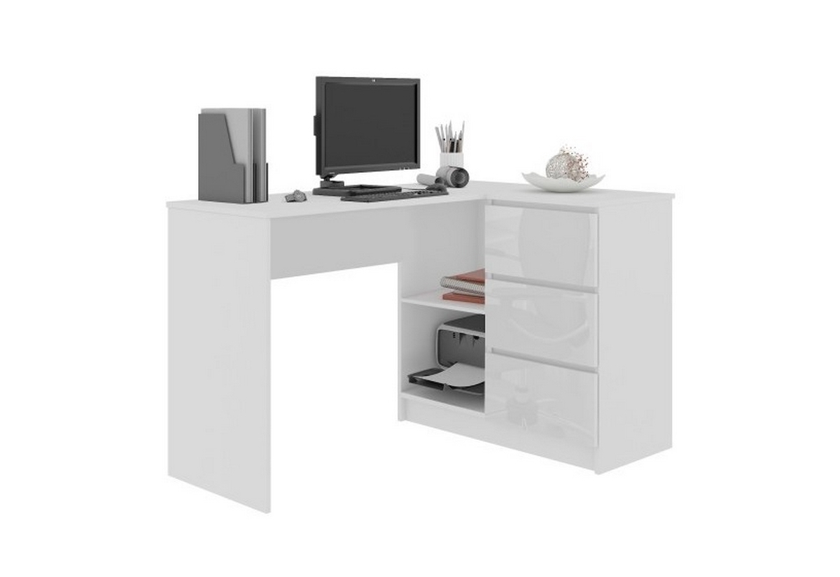 Expedo.sk Psací stůl KORDA B16 3SZ, 124,5x77x50, bílá/bílá lesk, pravá, doprava len 9 Euro