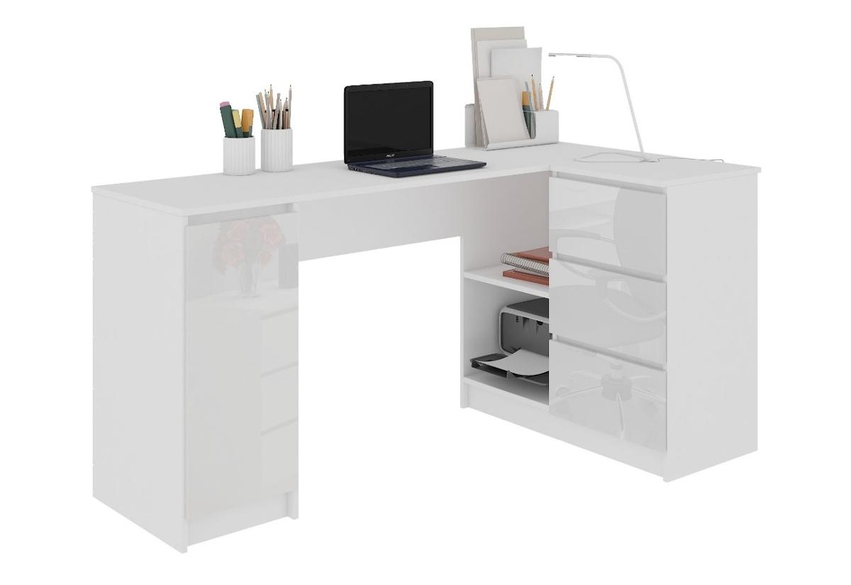 Expedo.sk Psací stůl KORDA B20, 155x77x85/48,5, bílá/bílá lesk, pravá, doprava len 9 Euro