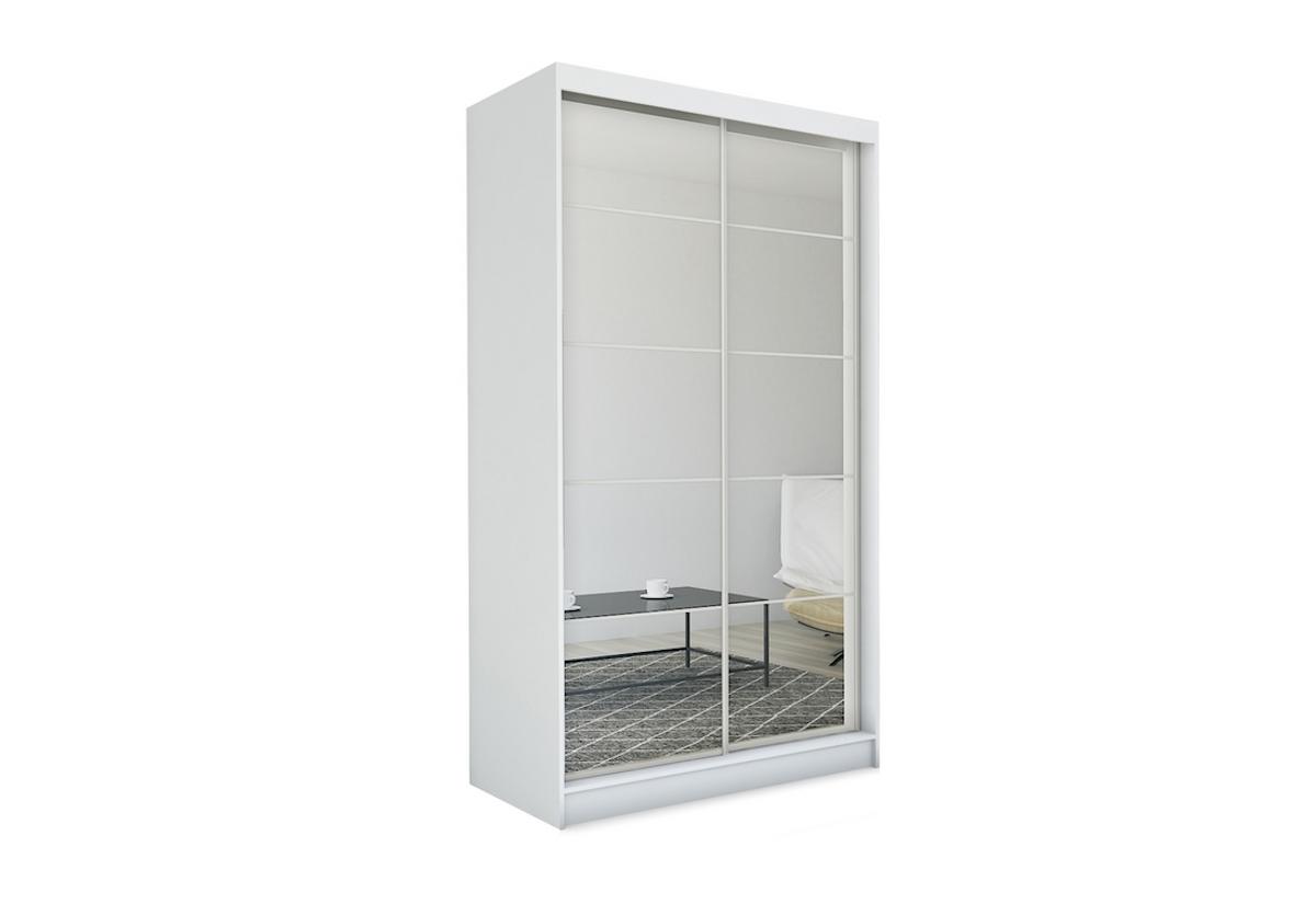 Expedo.sk Skříň s posuvnými dveřmi a zrcadlem MARISA, bílá, 150x216x61