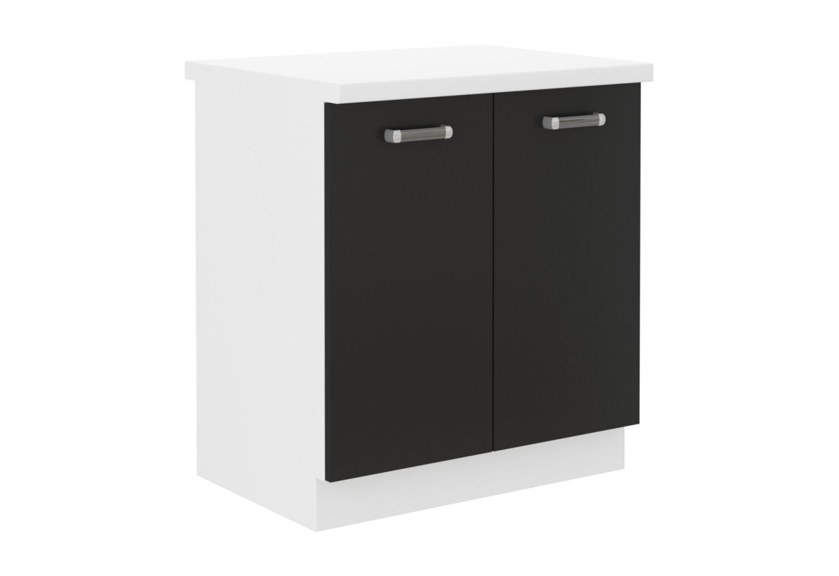 Expedo.sk Kuchyňská skříňka dolní dvoudveřová s pracovní deskou EPSILON 80D 2F ZB, 80x82x60, černá/bílá, doprava len 9 Euro