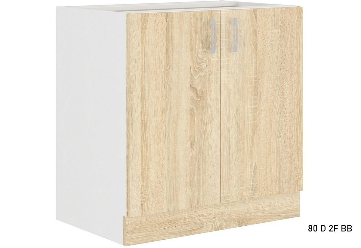 Expedo.sk Kuchyňská skříňka dolní dvoudveřová AVRIL 80 D 2F BB, 80x82x48, bílá/sonoma, doprava len 9 Euro